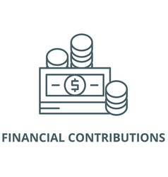 Financial contributions line icon linear vector