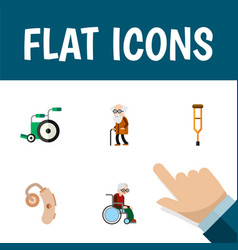 Flat icon handicapped set of ancestor audiology vector