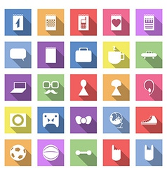Flat icon set with long shadow for web vector image