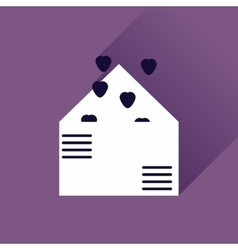 Flat web icon with long shadow love letter vector