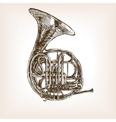 French horn hand drawn sketch style vector