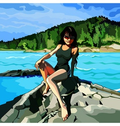 girl sitting on the rocks by the river vector image
