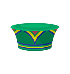Green zulu hat with bright ornament african vector