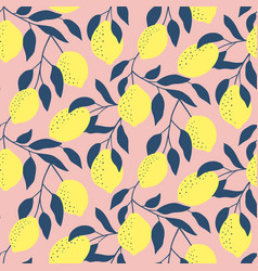 Hand drawn seamless pattern with fresh lemons vector