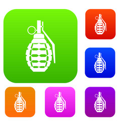 hand grenade bomb explosion set collection vector image