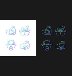Hand hygiene gradient icons set for dark vector