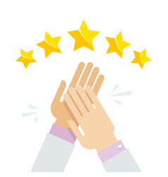 Hands applaud positive five star feedback vector