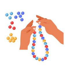 Hands beads creation bijouterie handmade craft vector