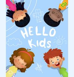 happy children on blue backgound vector image