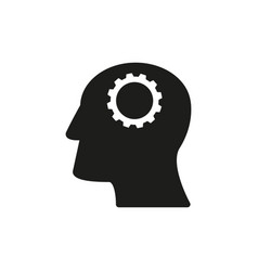 Head with cogwheels work icons come up idea vector