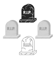 Headstone icon in cartoonblack style isolated on vector