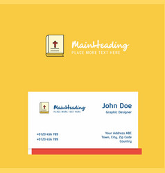 holy bible logo design with business card vector image