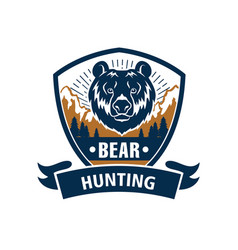Hunting sport or hunter club bear icon vector