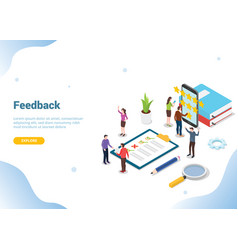 Isometric 3d feedback business rating star vector