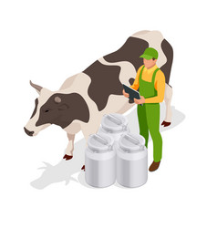 Isometric dairy cattle set farmer collecting milk vector