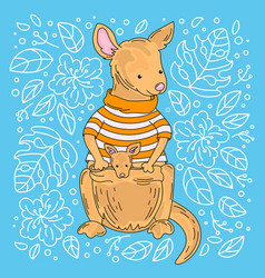 Kangaroo australian animal cartoon vector