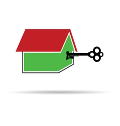 Key unlocks the house color vector