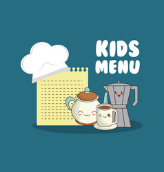 Kids menu set kitchen utensils vector