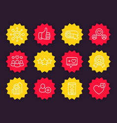 likes followers rating reputation icons vector image