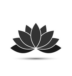 lotus - icon lotus black color with shadow vector image