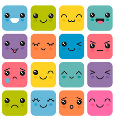 manga style eyes and mouths kawaii cute colorful vector image