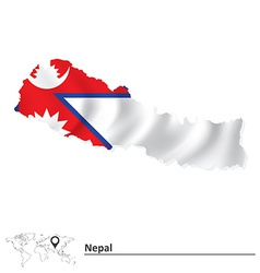 Map of Nepal with flag vector