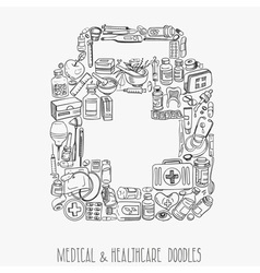 Medicine doodle background vector