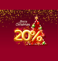 merry christmas sale 20 off ballon number vector image