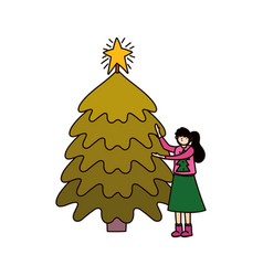 Merry christmas woman with ugly sweater tree star vector