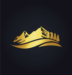 Mountain hill travel nature gold logo vector