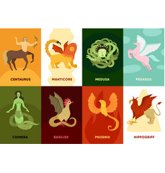 mythical creatures cards set vector image