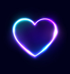neon 80s style heart abstract background vector image