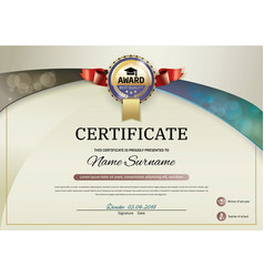 Official beige certificate with blue brown and vector
