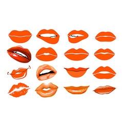Orange lips collage lips Set of isolated women vector image