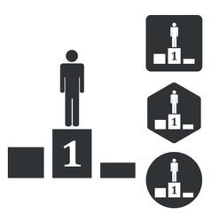 Pedestal icon set monochrome vector