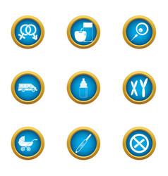 Pedigree icons set flat style vector