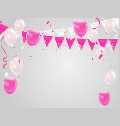 pink white balloons confetti concept design sale vector image
