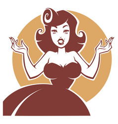 Portrait of surprised pin up lady vector