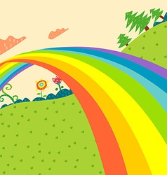 Rainbow lanscape vector