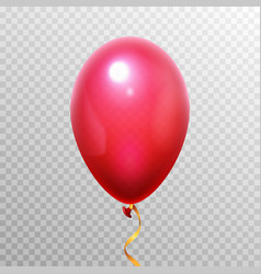 Realistic 3d red balloon flying helium air vector