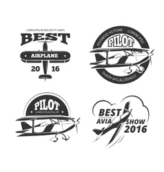 retro airplane aircraft labels set vector image