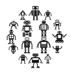 robot icons set simple style vector image