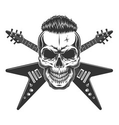 rockstar skull with trendy hairstyle vector image