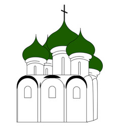 russian church with green roon white vector image