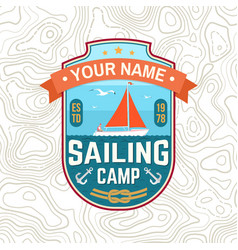 Sailing camp patch concept for shirt vector