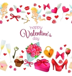 Seamless horizontal borders with valentines day vector