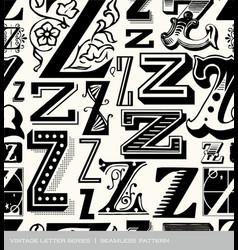 seamless vintage pattern letter Z vector image
