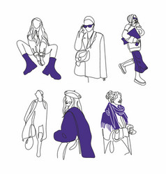 set fashion woman line art covers for social vector image