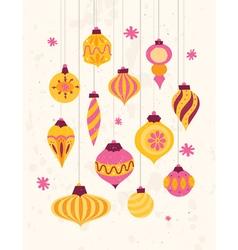 Set festive retro christmas ornaments 50s style vector