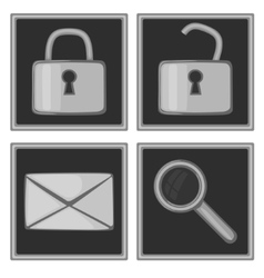 Set of four monochromatic icons vector image